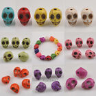 30/60/150pcs Turquoise Skull Head Spacer Beads 9 Colors 0186BZ 14x11mm