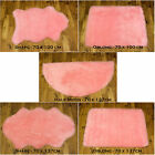 NEW SOFT FLUFFY  PLAIN WASHABLE PINK COLOUR FAKE FAUX FUR SHEEP SKIN RUGS