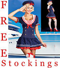 Hello Miss Sailor Ladies Fancy Dress Costume Outfit + Hat and FREE STOCKING