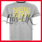 NEW ERA LINEAR TEE T SHIRT YELLOW ON GREY SIZE S M L XL