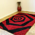 EXTRA LARGE TO SMALL 5CM THICK SHAGGY BLACK RED WHIRLPOOL MULTI SIZE CARPET RUGS