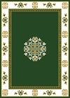 ORIENTAL GREEN MEDALLION BORDER AREA RUG PERSIAN MULTI-COLOR CARPET