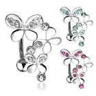 New Triple Butterfly Crystal Reverse Belly Bar Top Down Navel Piercing Drop Ring