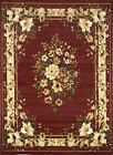 BURGUNDY FLORAL PERSIAN BORDERED AREA RUG TRADITIONAL ORIENTAL COUNTRY CARPET