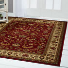 RED BURGUNDY IVORY BORDERED TRADITIONAL AREA RUG PERSIAN ORIENTAL FLORAL CARPET