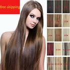"Hot Sales 14""-30"" Full Head 100% Clips in On Remy Real Human Hair Extensions"