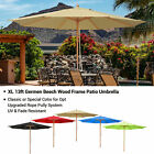 13 Ft Patio Wood Umbrella German Wooden Pole Outdoor Beach Cafe Garden Sun Shade