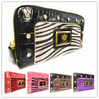 ANIMAL LEOPARD LADIES LYDC DIAMANTE WOMEN CROC PURSE WALLET HANDBAG CLUTCH BAG