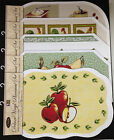 SET OF 6 EXPANDED VINYL PLACEMATS WINE BOTTLES FRUIT APPLES ROOSTERS