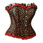 New Floral Cherry Lace Trim Womens  Black Red Bustier Corset Top S-2XL