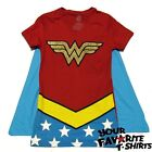 Wonder Woman Costume Shirt With Cape Glitter Officially Licensed Juniors S-XL