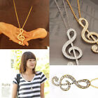 NEW Chic Fashion Musical Note Rhinestone Crystal Charm Pendant Chain Necklace