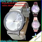 New Water Resistant Round Crystal Japan Quartz Fashion Watch Pink White Violet