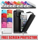 LEATHER FLIP CASE COVER FOR APPLE IPOD TOUCH 5G 5TH GEN FREE SCREEN PROTECTOR