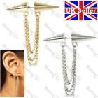 ASOS DOUBLE SPIKE CHAIN EARRING fake ear tunnel PUNK CHAINS rivet SILVER/GOLD PL
