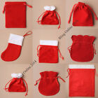 SANTA SACK CHRISTMAS XMAS PRESENT RED VELVET FABRIC GIFT BAG POUCH SMALL LITTLE