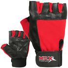 Weight Lifting Gloves Leather Gym Training Fitness Glove Strap Black / Red
