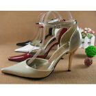 US 5-10 classic  Leather 9.5cm Heel  mary janes  pump  womens prom dress Shoes
