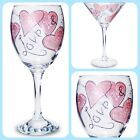 PERSONALISED WINE COCKTAIL HEARTS GLASS VALENTINES DAY ANNIVERSARY gift present