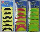 CARD OF ASSORTED DESIGN STICK ON MUSTACHES (6/CARD) : CHOOSE COLOUR : GB1019