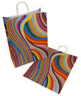 Paper Carrier Party Gift Bags Twisted Handles 320 x 140 x 410mm 70's Retro Style