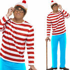 Official Wheres Wally Fancy Dress Costume Glasses + Hat 80s Mens Wheres Wally
