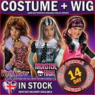 Girls Monster High Fancy Dress Costume Kit + Wig Childs Book Week outfit