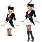 Lady Captain Pirate Fancy Dress Costume 4 Piece Complete Outfit UK 8 10 12 16 18
