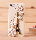 WHITE Bling Eiffel Tower Flower crystal Finished Case cover for iPhone 4 4S 5 5G