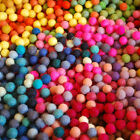 Approx 15g / 100 Assorted 100% Wool Felt Balls Beads Pink Red Blue Green - 1cm