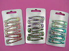 12 Childrens glitter ab hair clips / sleepies / snap clips,5cm,pink,purple,blue