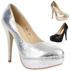 LADIES FOIL CRACKLE EFFECT WOMENS PLATFORM STILETTO HEEL COURT SHOES SIZE 3-8