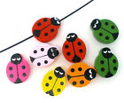 6 Nice Wooden Ladybug Beads / Painted Assorted Wood / Choose Your Color/ 19mm