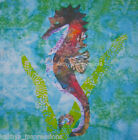 Tropical SEAHORSE Batik Fabric Quilt Panel Block~ Aqua Blue Green Ocean Water