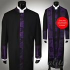 Clergy Robe Cadillac Black Purple  All Sizes Cassock Royalty Cross Embroidery