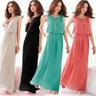 Women New Boho Sleeveless Pleated Cocktail Evening Maxi Long Dress UK Size 8-12