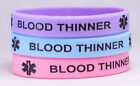 Blood Thinner Silicone Medical ID Bracelet 3 pack Pastel Colors