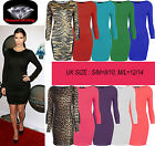 NEW WOMENS PLAIN JERSEY STRETCH BODYCON LONG SLEEVE MINI DRESS LADIES PARTY TOP