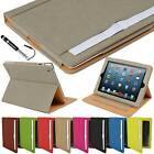 Tan Leather Wallet Smart Flip Case Cover for the new iPad 3 & 2 with sleep wake