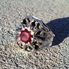 MENS CUSTOM VERY UNIQUE SUNBURST RUBY RING IN STERLING SILVER