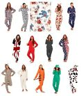 WOMENS FULL LENGTH FLEECE ONESIE HOODED ZIP ALL IN ONE JUMPSUIT GIRLS LADIES S-L