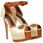 Ladies Womens Peep Toe Platform Stiletto Heels Ankle Strap Gold Detail Beige Tan
