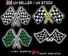CHEQUERED FLAGS - Embroidered Iron-On Flag Patch, Racing / Rally - Choice!