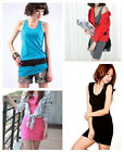 Thin Womens Long Vest Top Dress Sleeveless Racer Back Lady Plain Bodycon T Shirt