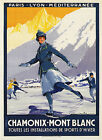Vintage CHAMONIX, MONT BLANC, FRANCE Skiing/Travel Poster A1A2A3A4Sizes