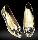 Ladies Womens Glitter Diamante Slip On Wedge Low Heel Ballet Loafer Shoes vc3106