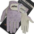 Ladies Golf Gloves Soft Fit Cabretta Leather Lycra Back Purple Glove Left Hand