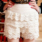 CHIC Ladies Womens Girls Sweet Cute Crochet Tiered Lace Shorts Skorts Pants HOT