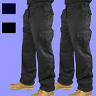 Mens Combat Cargo Work Trousers Black or Navy Size 28 to 52 - x 2 PAIRS