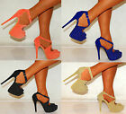 LADIES WOMENS PINK BLACK BLUE CORAL STILETTO PLATFORMS STUDS HIGH HEELS SHOES